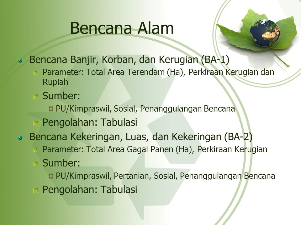 Bencana Alam Bencana Banjir, Korban, dan Kerugian (BA-1) Sumber: