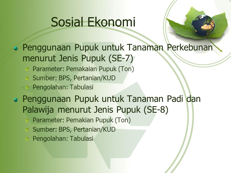 Sosial Ekonomi Penggunaan Pupuk untuk Tanaman Perkebunan menurut Jenis Pupuk (SE-7) Parameter: Pemakaian Pupuk (Ton)