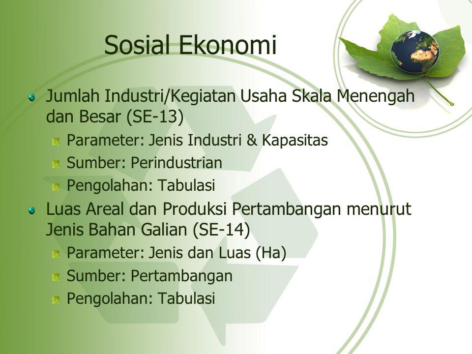 Sosial Ekonomi Jumlah Industri/Kegiatan Usaha Skala Menengah dan Besar (SE-13) Parameter: Jenis Industri & Kapasitas.