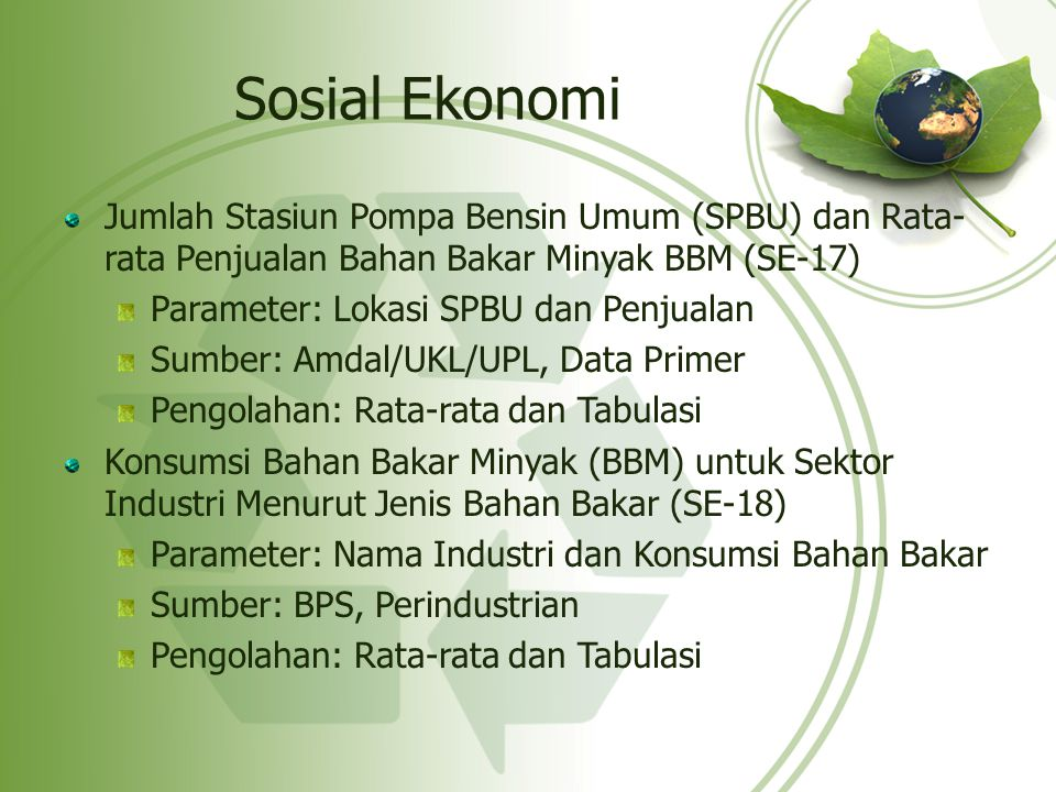 Sosial Ekonomi Jumlah Stasiun Pompa Bensin Umum (SPBU) dan Rata-rata Penjualan Bahan Bakar Minyak BBM (SE-17)