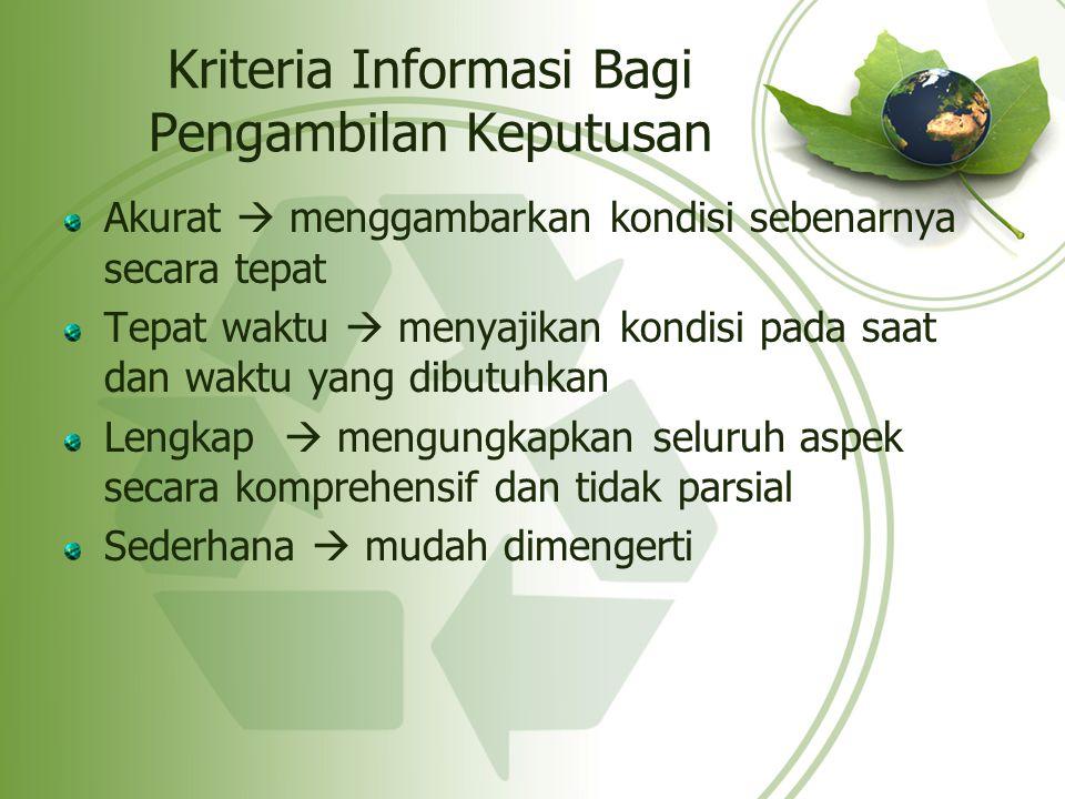 Kriteria Informasi Bagi Pengambilan Keputusan