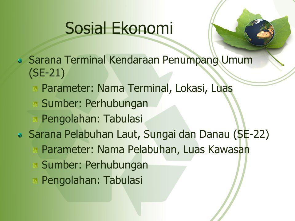 Sosial Ekonomi Sarana Terminal Kendaraan Penumpang Umum (SE-21)