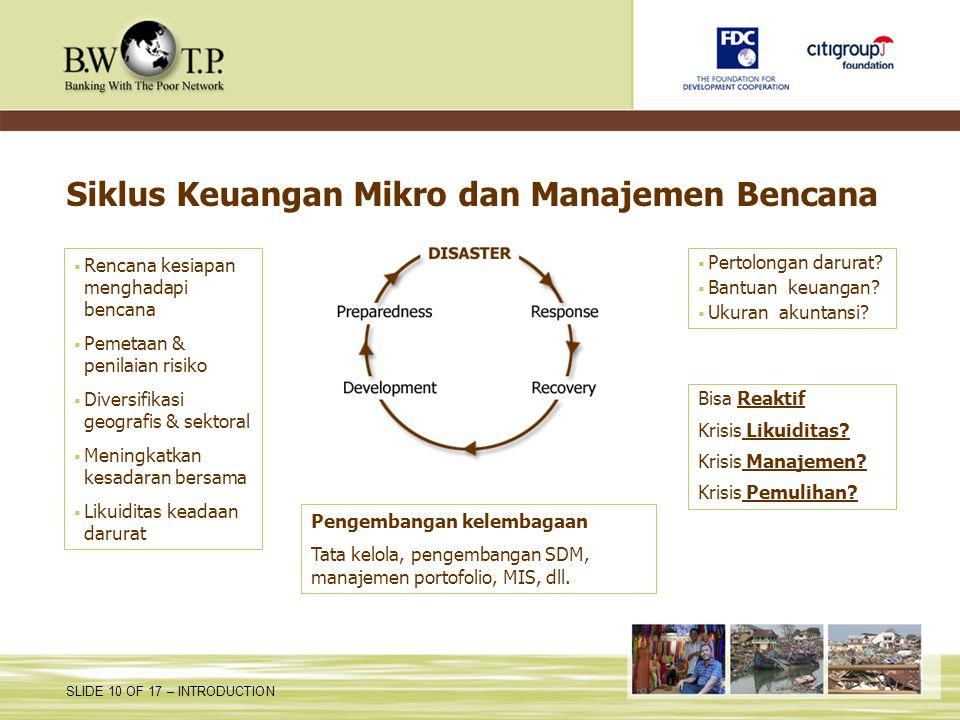 Siklus Keuangan Mikro dan Manajemen Bencana