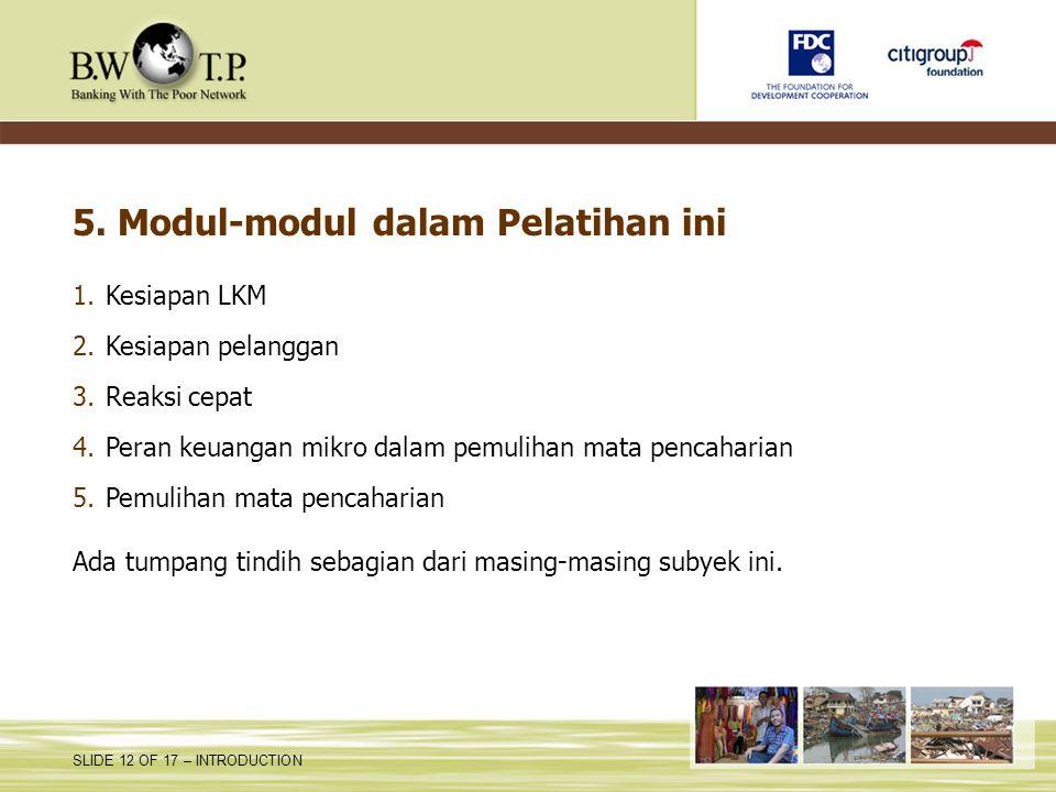 5. Modul-modul dalam Pelatihan ini