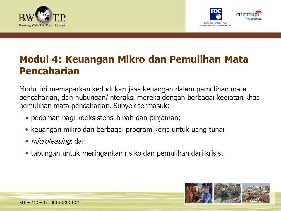 Modul 4: Keuangan Mikro dan Pemulihan Mata Pencaharian