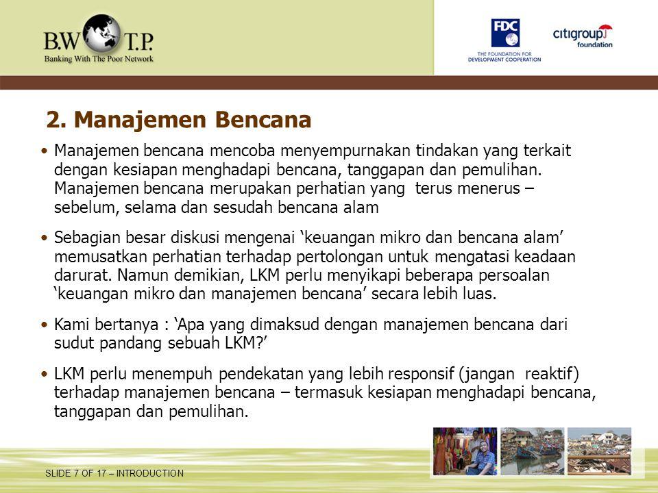 2. Manajemen Bencana