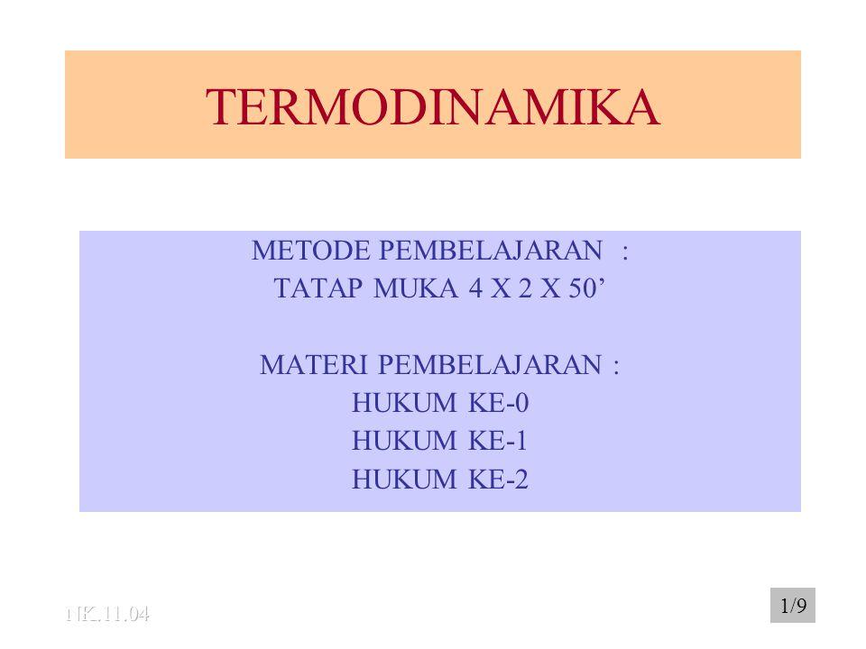 TERMODINAMIKA METODE PEMBELAJARAN : TATAP MUKA 4 X 2 X 50'