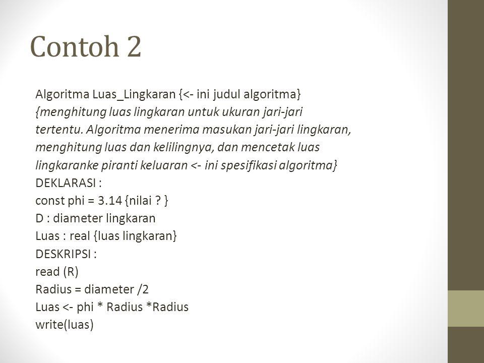 Contoh 2 Algoritma Luas_Lingkaran {<- ini judul algoritma}