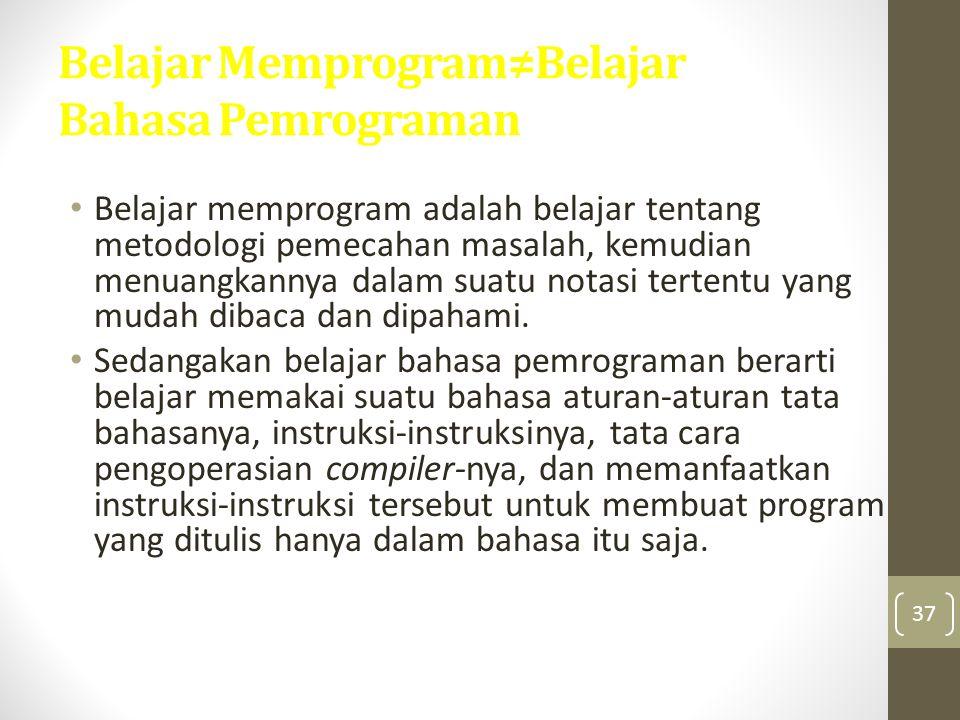 Belajar Memprogram≠Belajar Bahasa Pemrograman