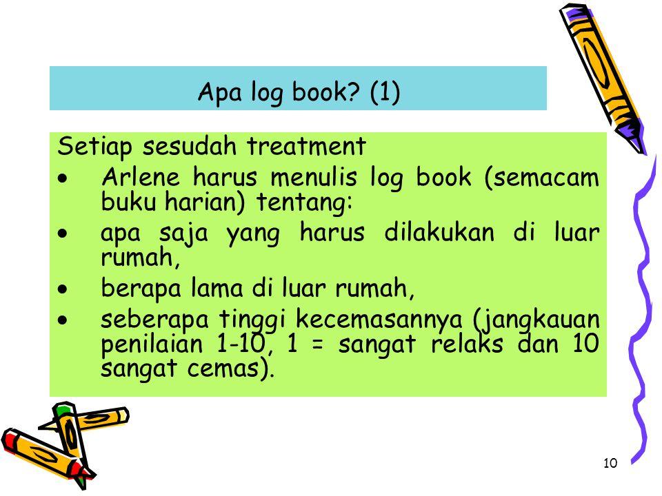 Apa log book (1) Setiap sesudah treatment. Arlene harus menulis log book (semacam buku harian) tentang: