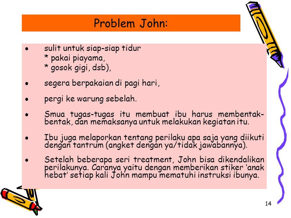 Problem John: sulit untuk siap-siap tidur * pakai piayama,