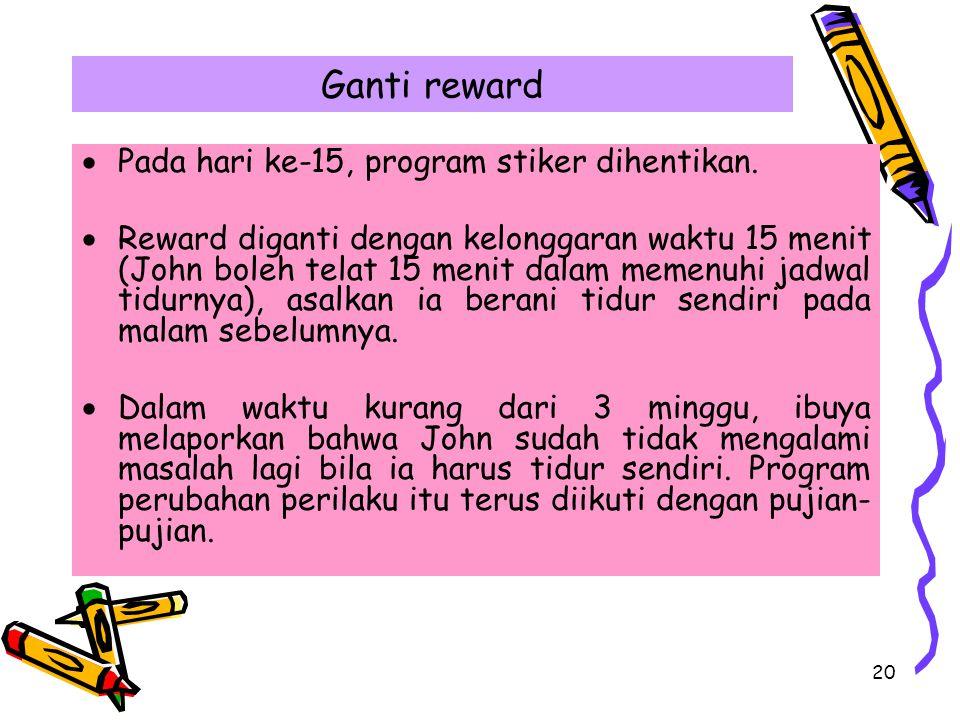 Ganti reward Pada hari ke-15, program stiker dihentikan.