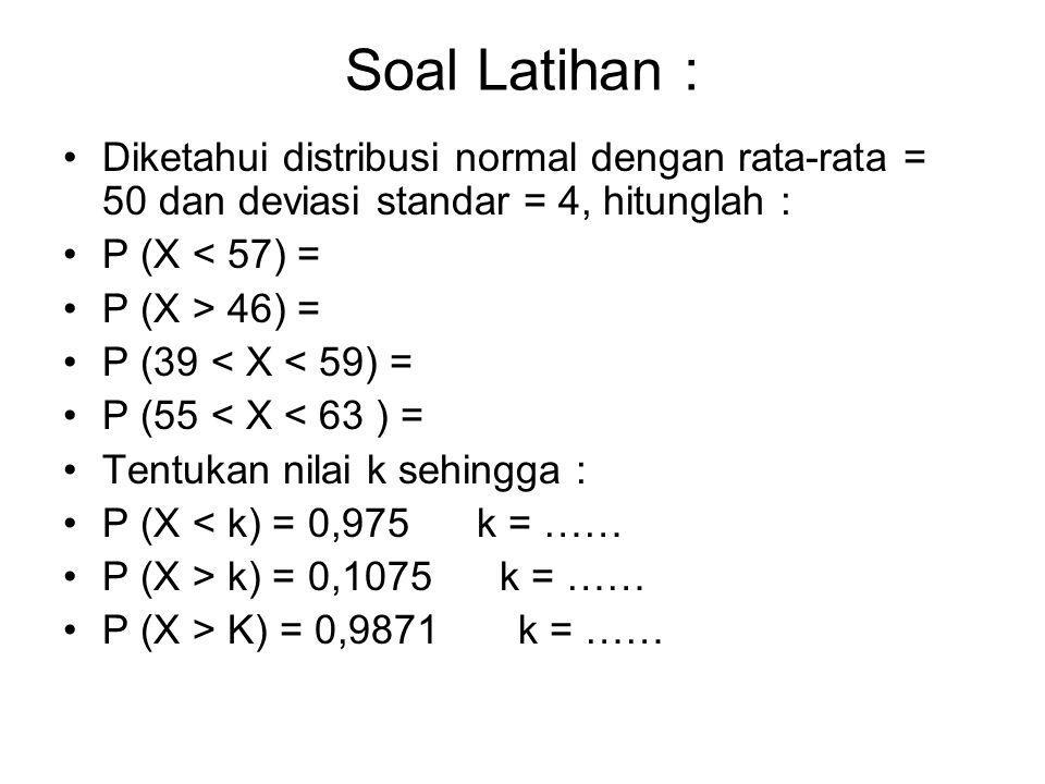Soal Latihan : Diketahui distribusi normal dengan rata-rata = 50 dan deviasi standar = 4, hitunglah :