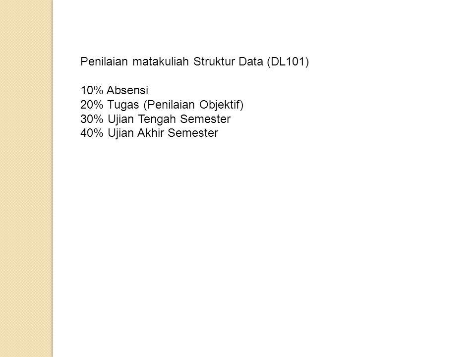 Penilaian matakuliah Struktur Data (DL101)
