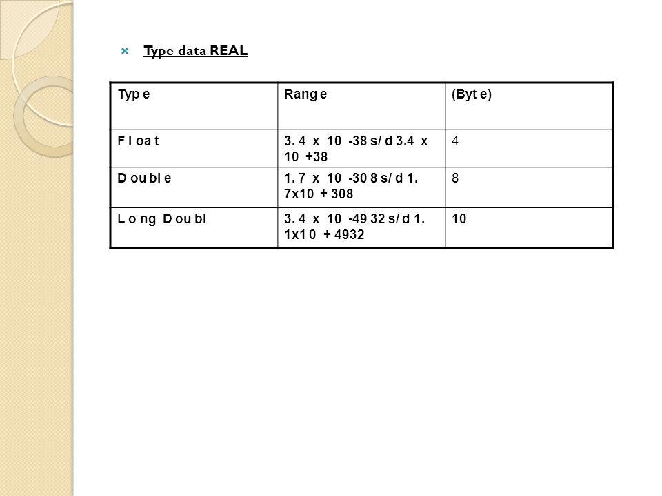Type data REAL Typ e Rang e (Byt e) F l oa t