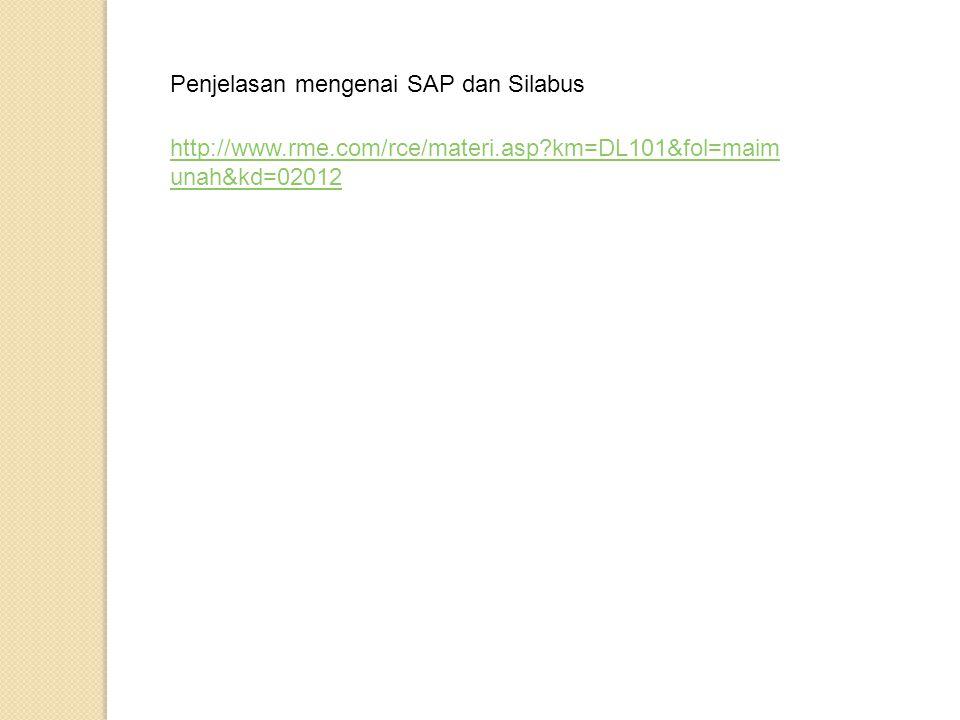 Penjelasan mengenai SAP dan Silabus