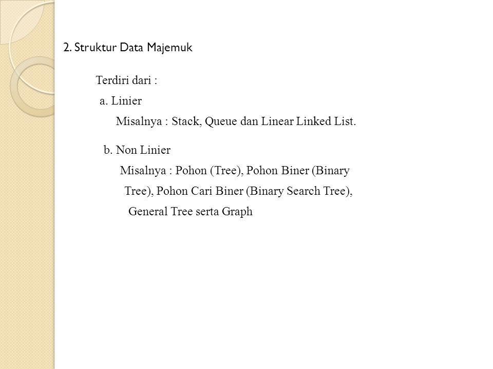 b. Non Linier Terdiri dari : 2. Struktur Data Majemuk a. Linier