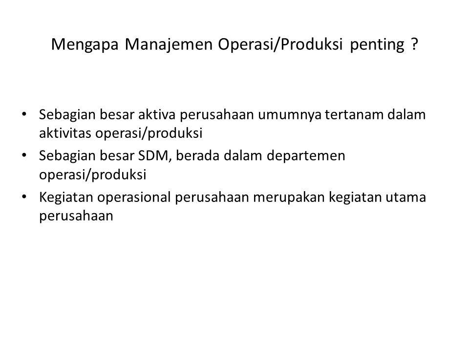 Mengapa Manajemen Operasi/Produksi penting
