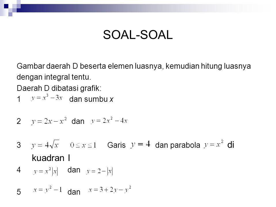 SOAL-SOAL Gambar daerah D beserta elemen luasnya, kemudian hitung luasnya. dengan integral tentu. Daerah D dibatasi grafik: