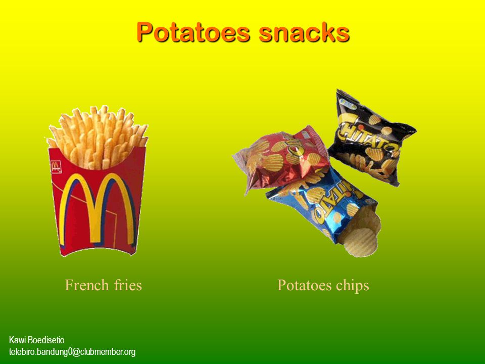 Potatoes snacks French fries Potatoes chips Kawi Boedisetio