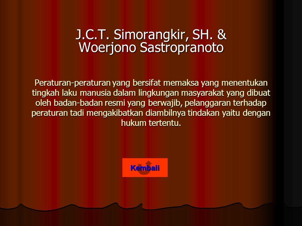 J.C.T. Simorangkir, SH. & Woerjono Sastropranoto