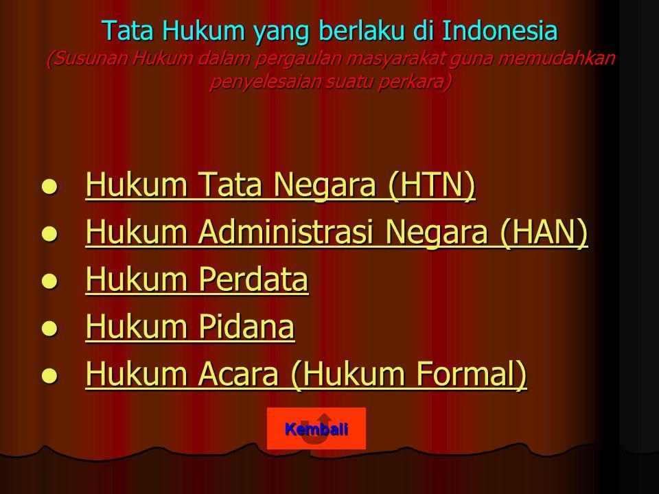 Hukum Tata Negara (HTN) Hukum Administrasi Negara (HAN) Hukum Perdata