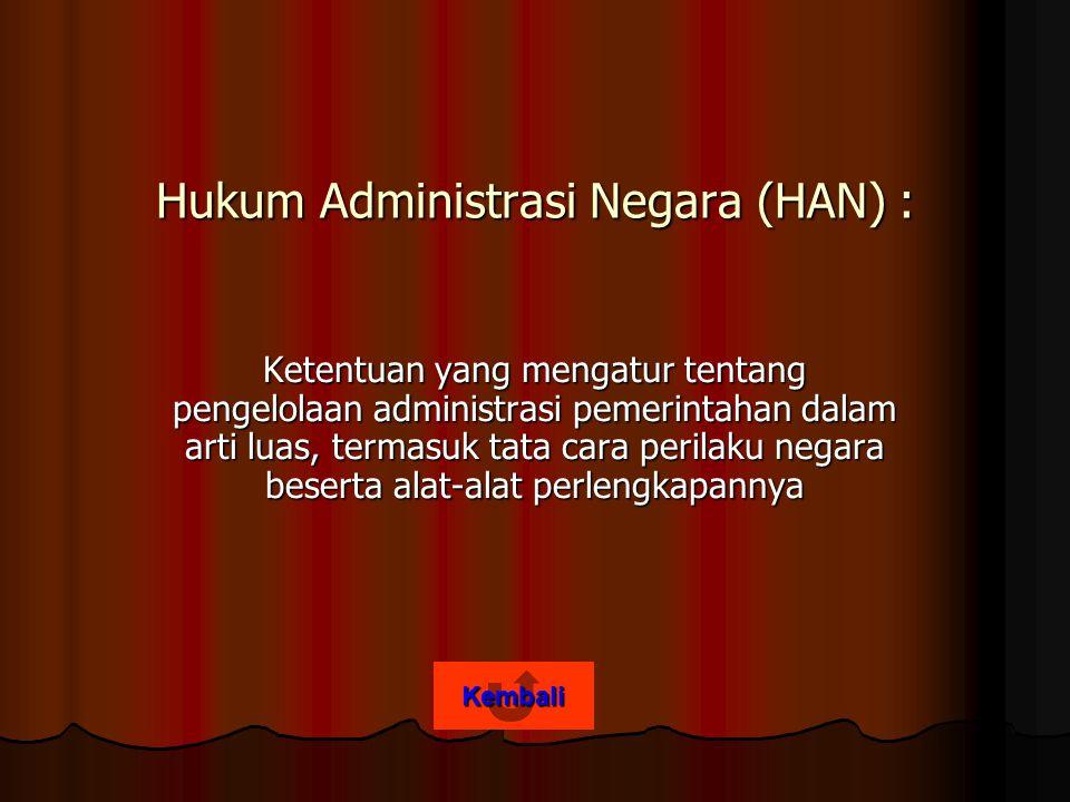 Hukum Administrasi Negara (HAN) :