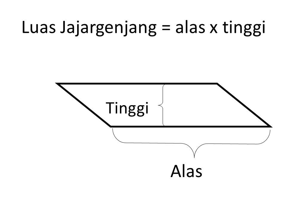 Luas Jajargenjang = alas x tinggi