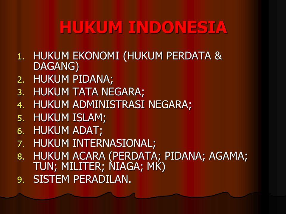 HUKUM INDONESIA HUKUM EKONOMI (HUKUM PERDATA & DAGANG) HUKUM PIDANA;