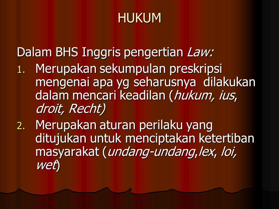 HUKUM Dalam BHS Inggris pengertian Law:
