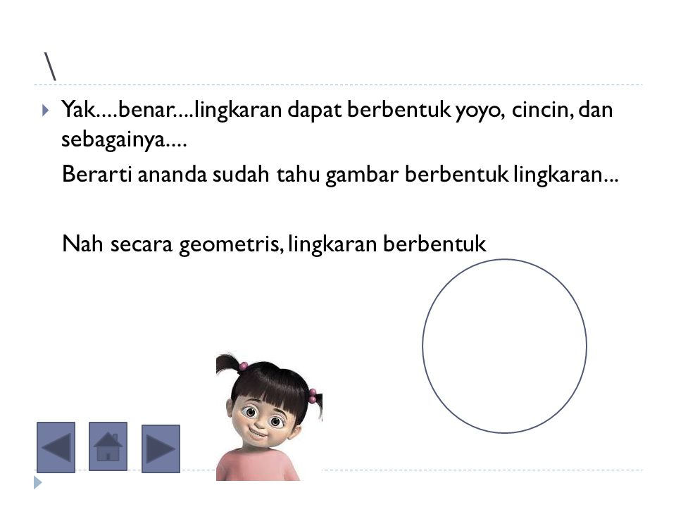 \ Yak....benar....lingkaran dapat berbentuk yoyo, cincin, dan sebagainya.... Berarti ananda sudah tahu gambar berbentuk lingkaran...