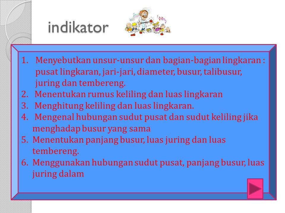 indikator Menyebutkan unsur-unsur dan bagian-bagian lingkaran : pusat lingkaran, jari-jari, diameter, busur, talibusur, juring dan tembereng.