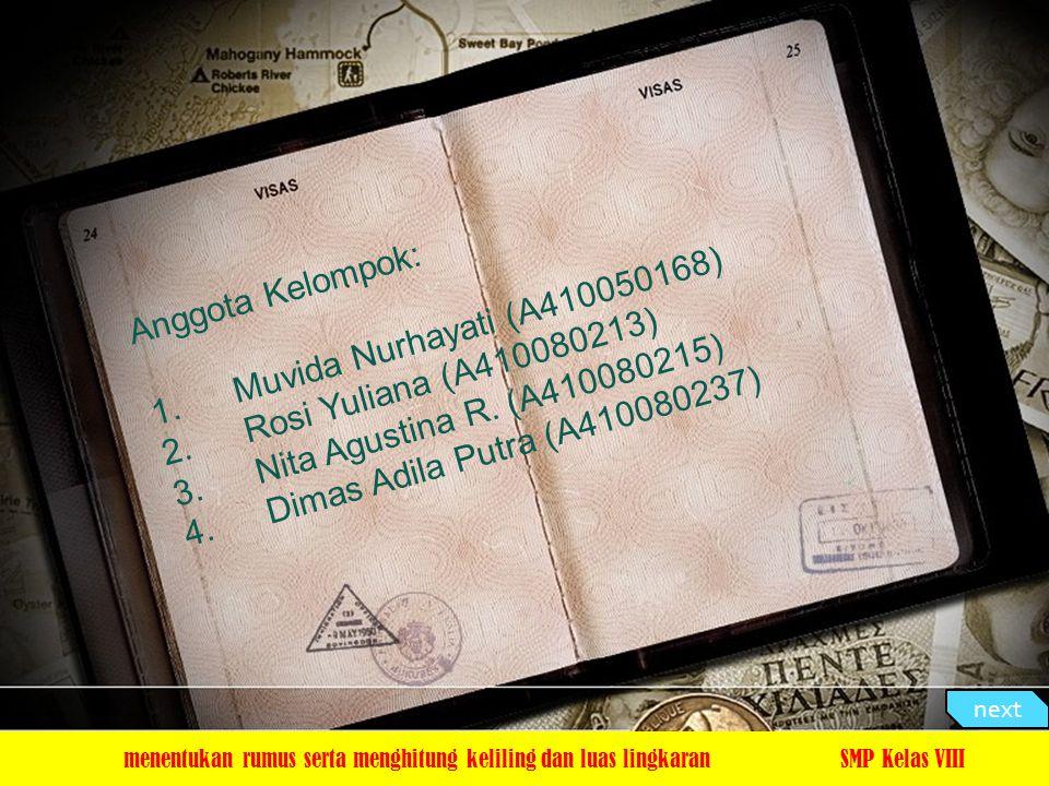 Anggota Kelompok: Muvida Nurhayati (A410050168)