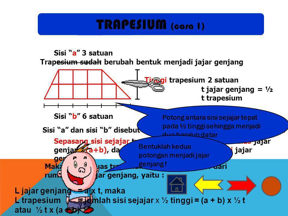 TRAPESIUM (cara 1) L jajar genjang = a x t, maka