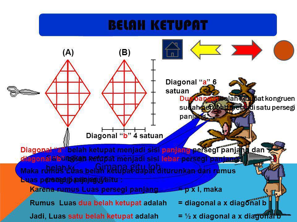 BELAH KETUPAT Potong belah ketupat A menurut kedua garis diagonal!
