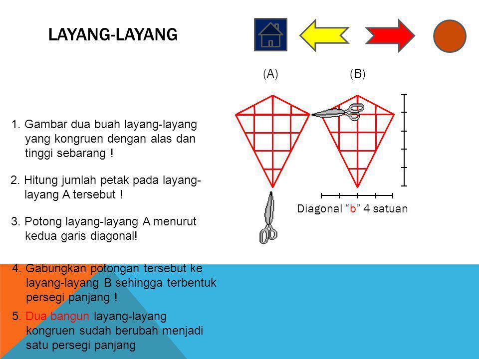 LAYANG-LAYANG (A) (B) 1. Gambar dua buah layang-layang yang kongruen dengan alas dan tinggi sebarang !