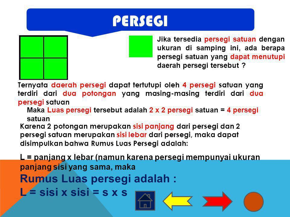 PERSEGI Rumus Luas persegi adalah : L = sisi x sisi = s x s