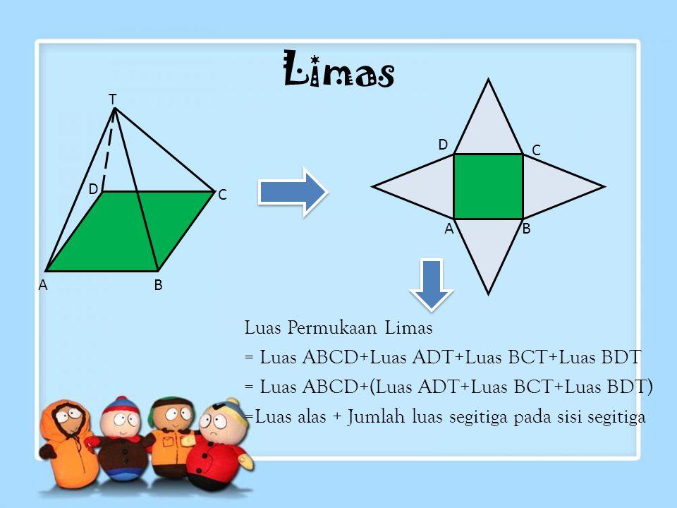 Limas Luas Permukaan Limas = Luas ABCD+Luas ADT+Luas BCT+Luas BDT