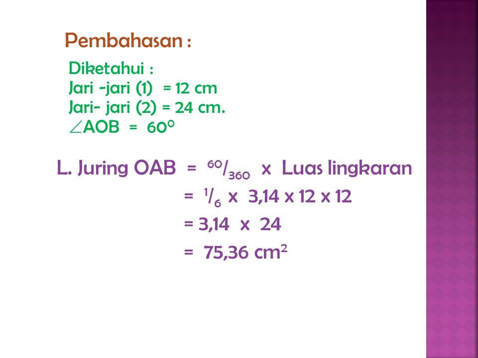 L. Juring OAB = 60/360 x Luas lingkaran = 1/6 x 3,14 x 12 x 12