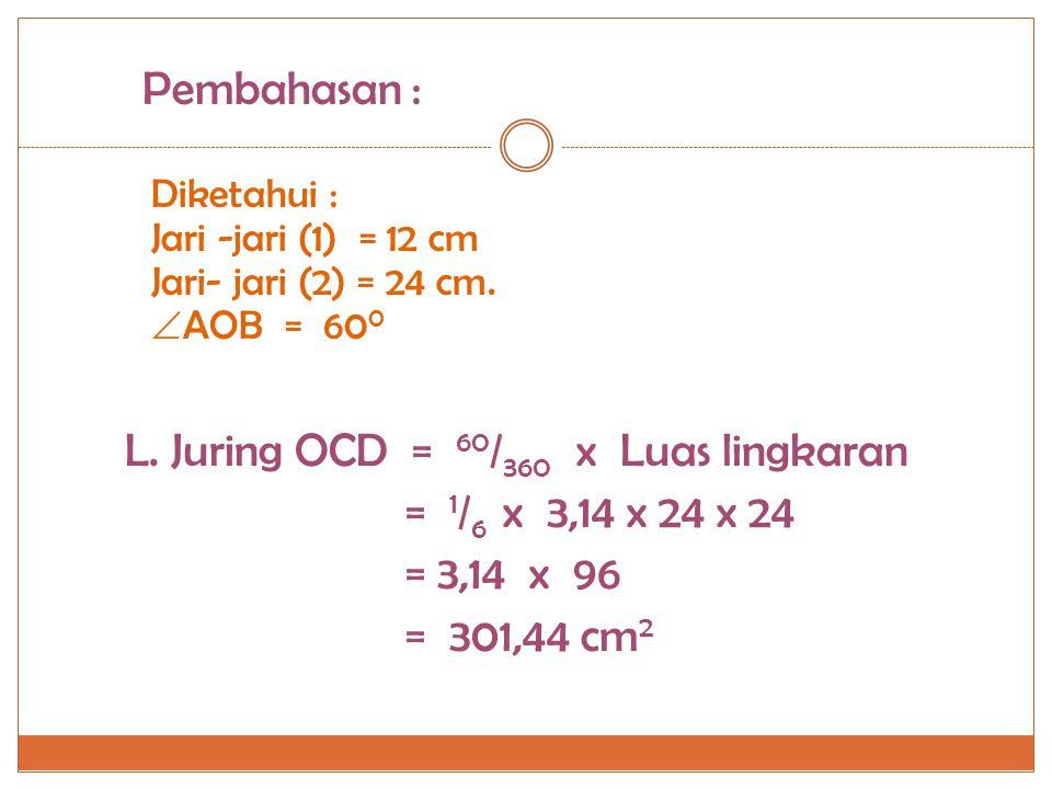 L. Juring OCD = 60/360 x Luas lingkaran = 1/6 x 3,14 x 24 x 24