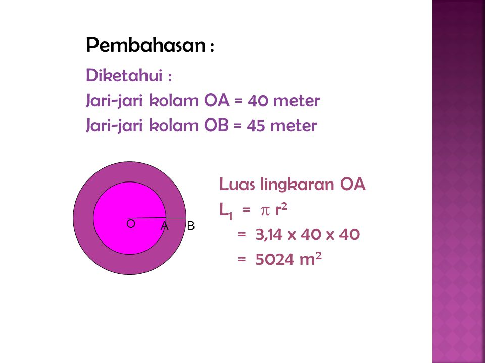 Pembahasan : Diketahui : Jari-jari kolam OA = 40 meter