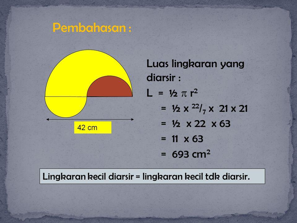 Pembahasan : Luas lingkaran yang diarsir : L = ½  r2