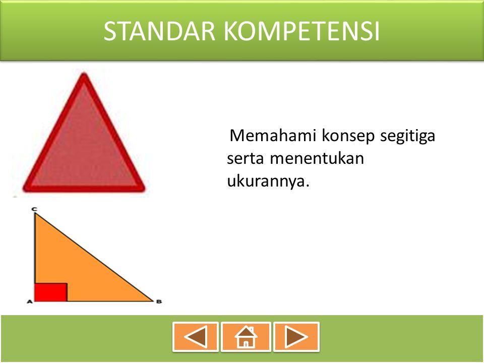 STANDAR KOMPETENSI Memahami konsep segitiga serta menentukan ukurannya.