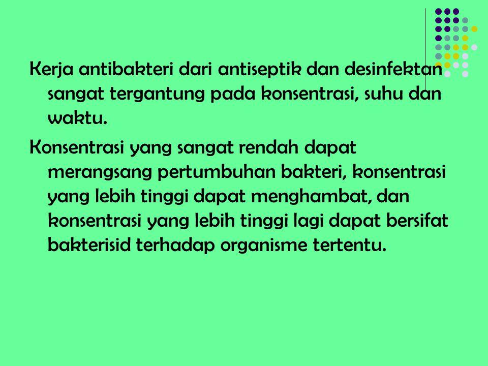 Kerja antibakteri dari antiseptik dan desinfektan sangat tergantung pada konsentrasi, suhu dan waktu.
