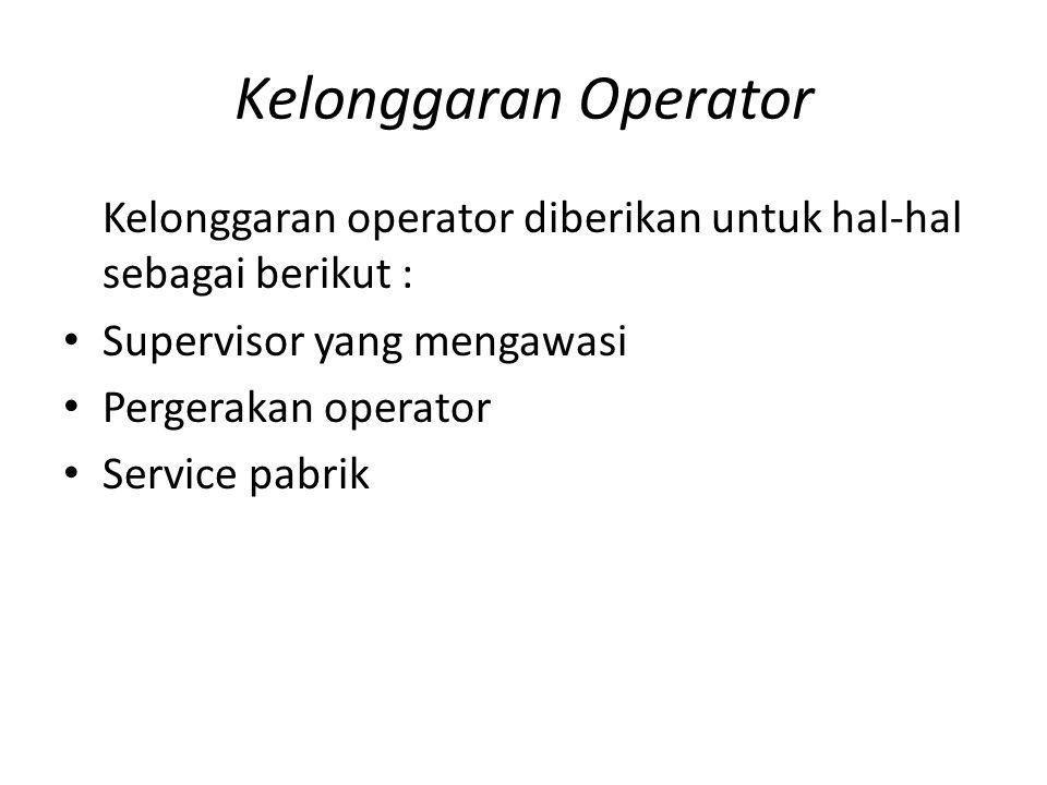 Kelonggaran Operator Kelonggaran operator diberikan untuk hal-hal sebagai berikut : Supervisor yang mengawasi.