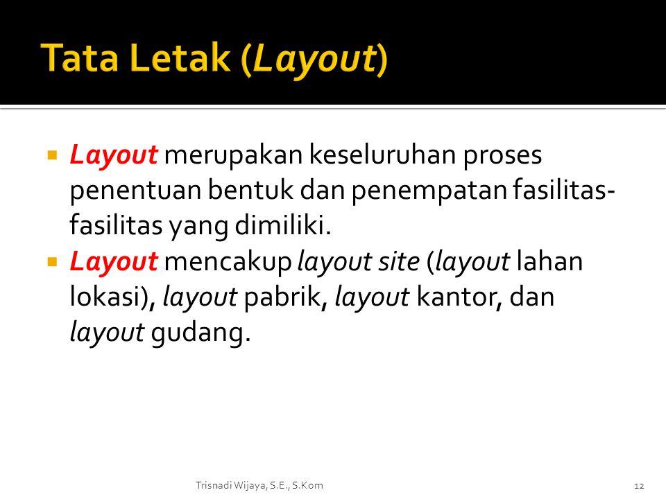 Tata Letak (Layout) Layout merupakan keseluruhan proses penentuan bentuk dan penempatan fasilitas-fasilitas yang dimiliki.