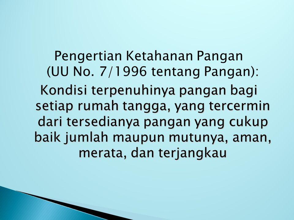 Pengertian Ketahanan Pangan (UU No. 7/1996 tentang Pangan):
