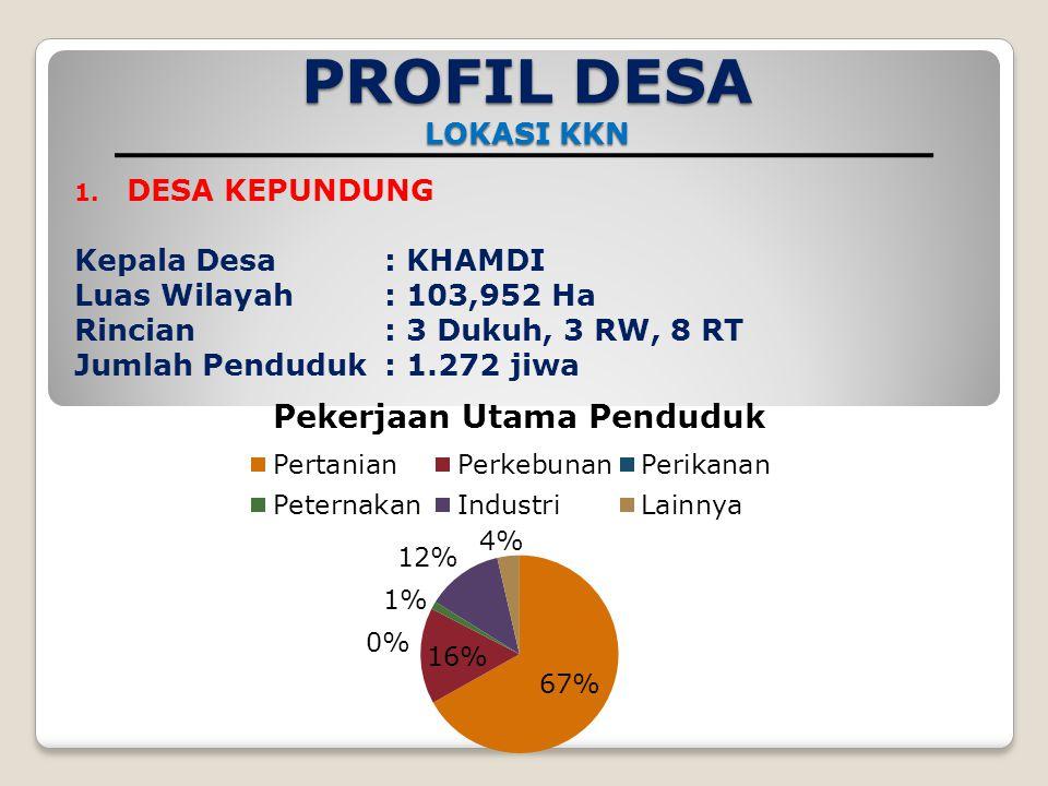 PROFIL DESA LOKASI KKN DESA KEPUNDUNG Kepala Desa : KHAMDI