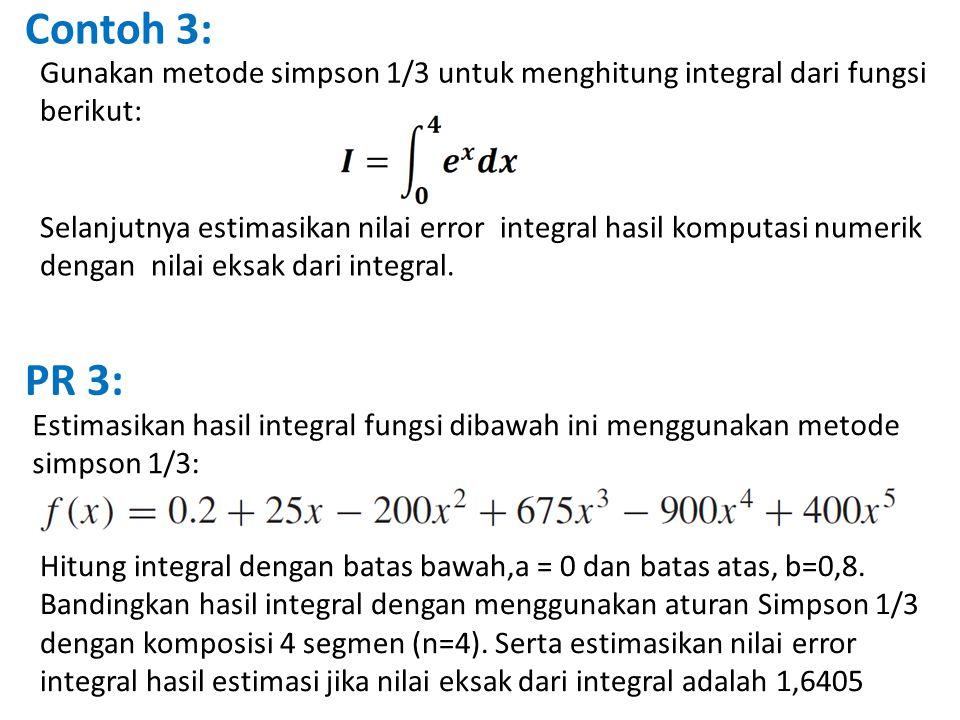 Contoh 3: Gunakan metode simpson 1/3 untuk menghitung integral dari fungsi berikut: