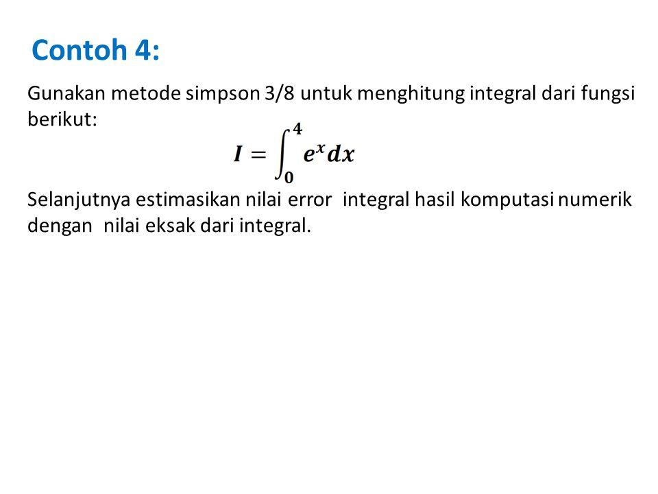 Contoh 4: Gunakan metode simpson 3/8 untuk menghitung integral dari fungsi berikut: